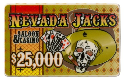 $25,000 Nevada Jack 40 Gram Ceramic Poker - Ceramic Poker Plaque Chip