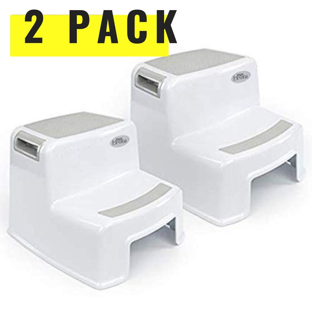 (2-Pack) Dual Height Step Stool for Kids Toddler's Stool for Potty Training, Use in The Bathroom or Kitchen | Versatile Two-Step Design for Children | Soft-Grip Steps Provide Comfort and Safety