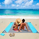 OUSPT Large Beach Blanket Sand Free Beach Mat Built in Sand Anchors & Zippered Valuables Pocket 6.6' x 6.9' Pocket Blanket Moisture Resistant Polyester Fast Dry Blue