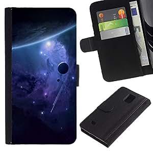"""Samsung Galaxy Note 4 IV / SM-N910 , la tarjeta de Crédito Slots PU Funda de cuero Monedero caso cubierta de piel ("""" Purple Alien Galaxy Stars Universe Planet"""")"""