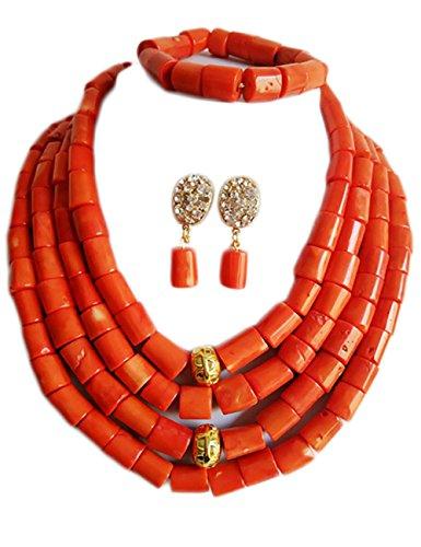 Nigerian Wedding African Bead Orange Coral Bead Necklace Bracelet Earrings Bride Jewelry Set