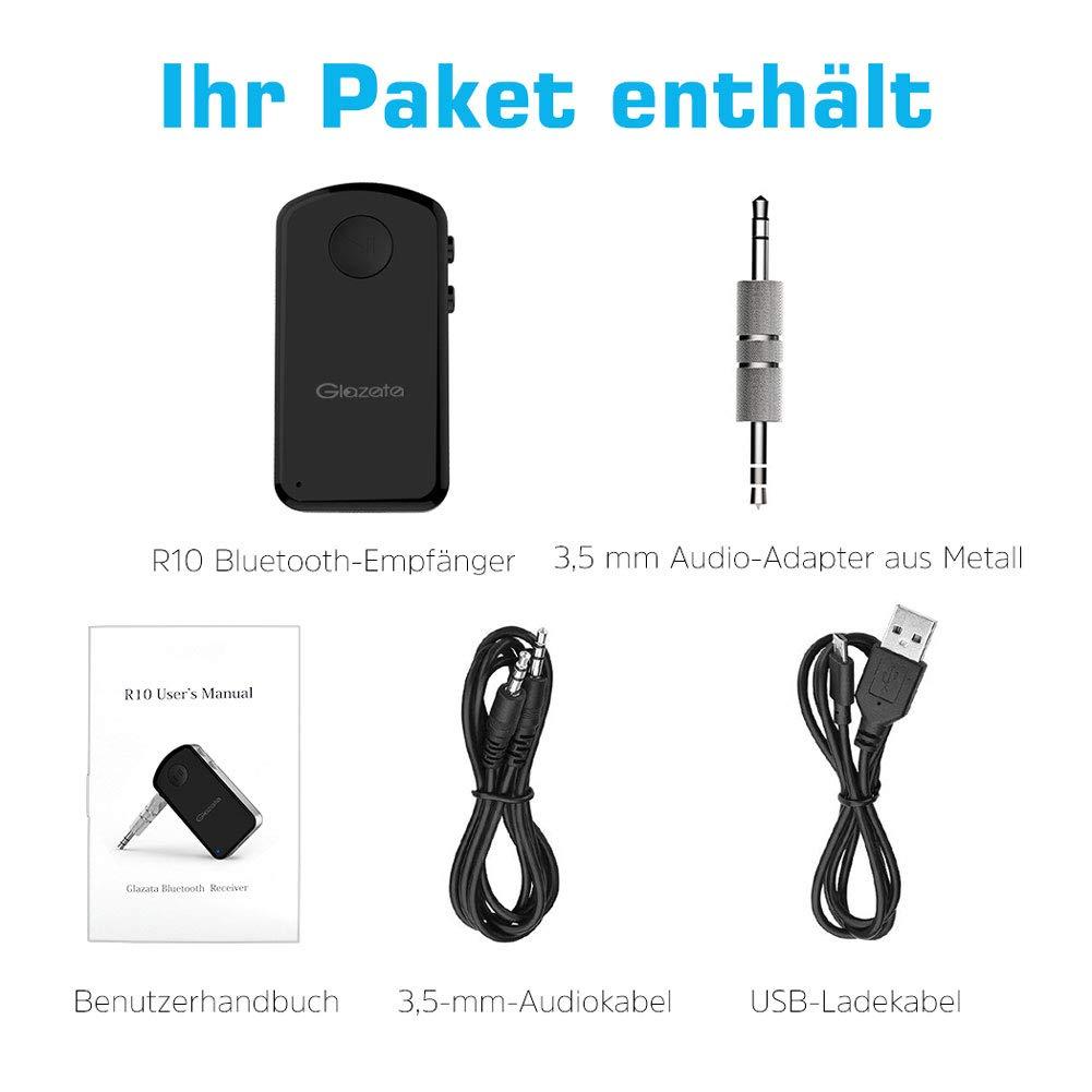Glazata Bluetooth 4.1 Car Receiver 3.5mm AUX Wireless Adaptor A2DP Bluetooth Hands-Free Receiver for Home Audio Stereo System