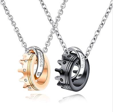 qualità incredibile check-out pacchetto alla moda e attraente Coppia Collana, Moda Trend Titanio Acciaio Diamante Ciondolo ...