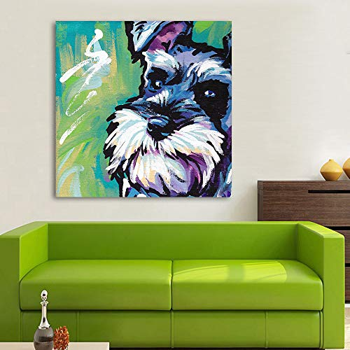 LIEFENGDAO Decorative Paintings Animal Abstract Canvas Art Schnauzer Dog Pop Art Wall Pictures for Living Room Home Decor Printings Painting,24X24