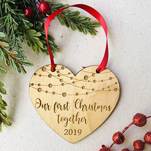 Our First Christmas Together 2019 Gifts Couple Engaged Rustic 1st Holiday Keepsake Ornament Boyfriend Girlfriend Farmhouse Collectible Present 3