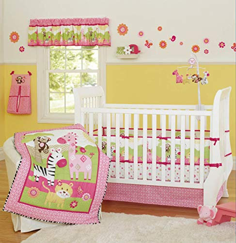9-Piece Crib Bedding Woodland Theme Sets Cotton Tiger King Zebra Giraffe and Monkey Zoo Hypoallergenic Crib Nursery Bedding Set with Bumper for Baby Boys and Girls Pink (Bumper Crib Set)