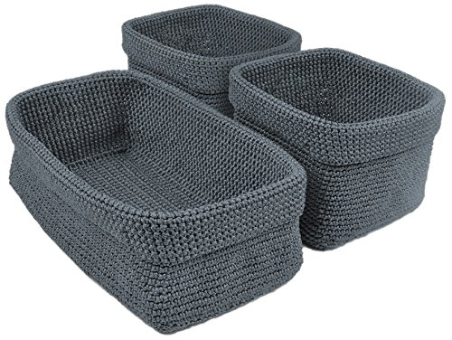 DII Home Essentials Hand Crocheted Storage Baskets for Drawers, Closets, Bathrooms, Kitchen, Organization, Food and More Set of 3, Stone Blue