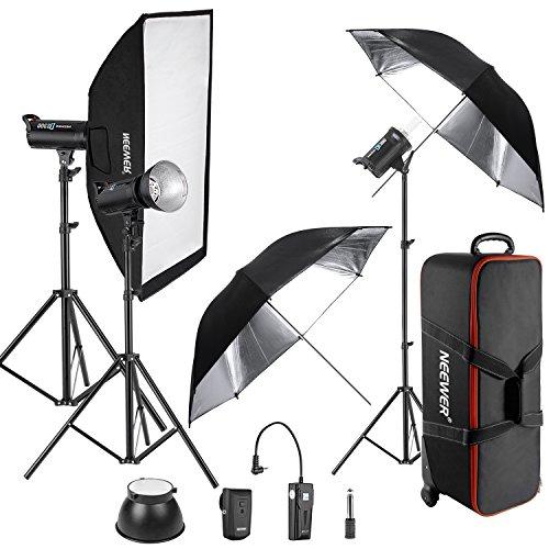Neewer 900W 3-Piece DS300 Photo Studio Strobe Flash Light wi