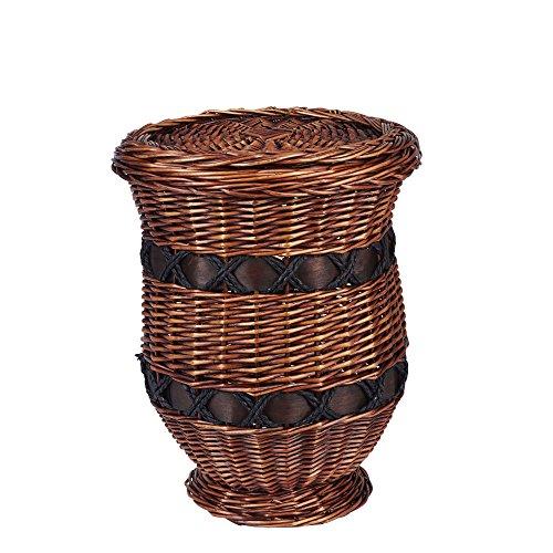 Household Essentials Decorative Wicker Storage Basket Accent Table, Small, Dark Brown