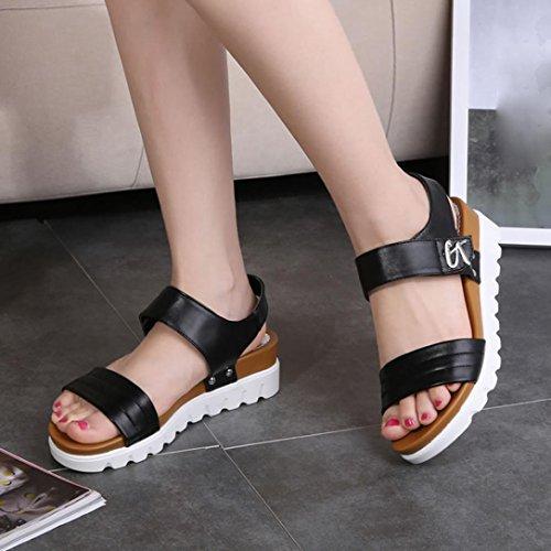 Xmansky Damen Sommer Sandalen, Frau Gealterte Wohnung Mode Sandalen Gemütlich Schuhe Schwarz