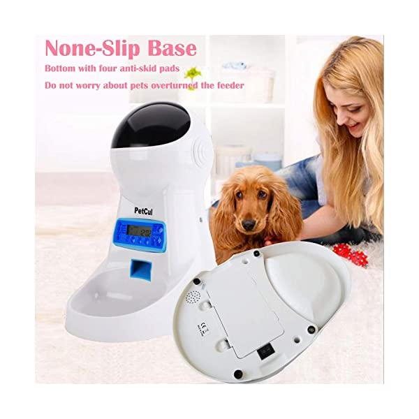 PetCul Automatic Cat Feeder 3L Pet Food Dispenser Feeder for Medium & Large Cat Dog——4 Meal, Voice Recorder & Timer Programmable, Portion Control 6