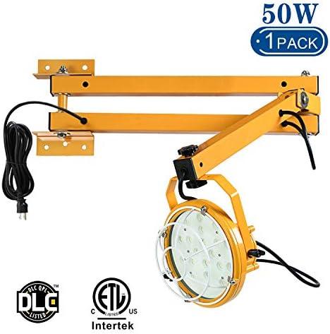 Lawind 50W LED Dock Light with Swing Double Arm 6000 Lumen Prolight 40in Steel Arm 360 Rotatable Lamp Head for Warehouse Trailers Docks
