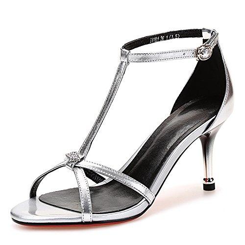 Hebilla de verano con los pies descalzos color puro hueco de cuero sandalias de tacón alto del talón fino femenino silvery