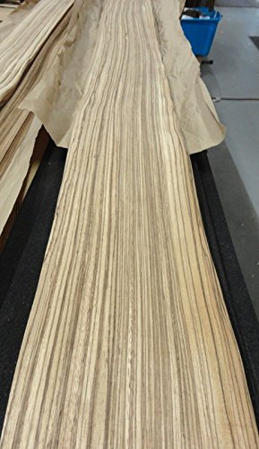 """Zebrawood wood veneer 4.75"""" x 91"""" raw no backing 1/42"""" for sale  Delivered anywhere in USA"""
