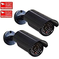 VideoSecu 2 Pack Dummy Security Cameras Fake IR Infrared LEDs Flashing Light Bullet Home Surveillance Camera with Free Warning Decals 1RH