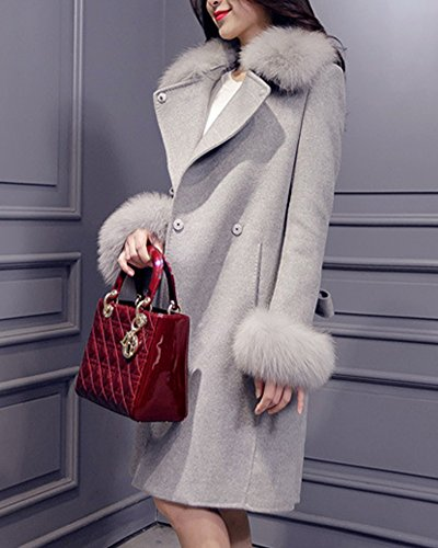 Espesar Cálido Abrigo Chaquetas Pelaje Acolchado Fit Parka Slim Mujer Abrigo Gris Invierno Collar 04q16HYxH