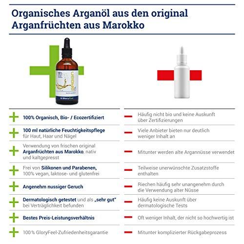 Aceite de argán bio con certificación ecológica, original de Marruecos de primera presión en frío. Es anti-edad e idóneo para el cuidado de las arrugas y ...