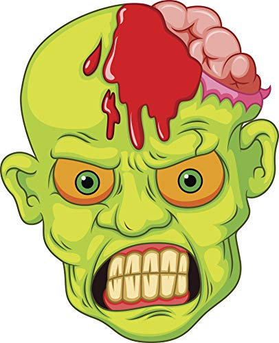 Creepy Green Undead Zombie Exposed Brain Head Cartoon Emoji Vinyl -