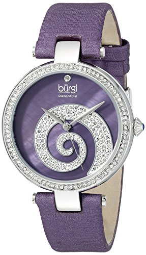 Burgi Women's BUR143PU  Round Purple Mother of Pearl and Silver Dial with Swarovski Crystals Quartz Movement Satin Strap (Swarovski Mop Dial)