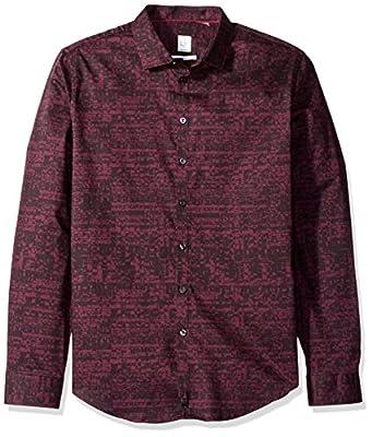 Calvin Klein Men's Long Sleeve Static Square Print Button Down Shirt