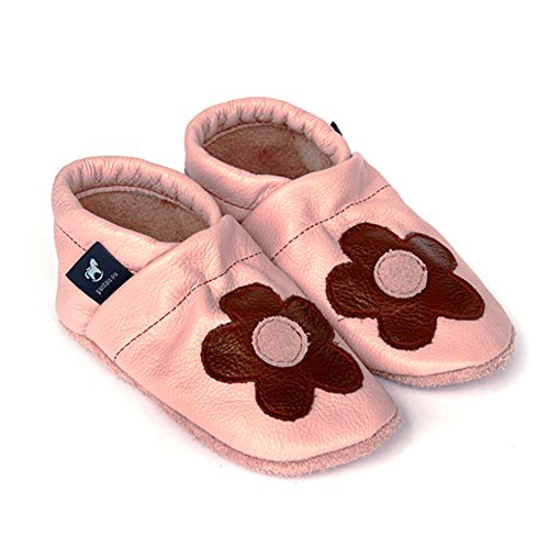 Pantau Leder Krabbelschuhe Lederpuschen Babyschuhe Lauflernschuhe mit Blume mittig, 100% Leder ROSA_BRAUN