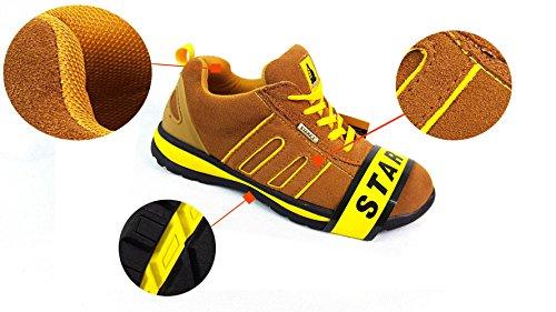 Black Grey orteils Suede renfort Camel Yellow en 10 les sécurité de acier pour Suede Baskets avec wqPzBv1B8