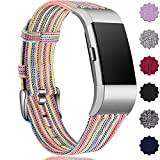 Maledan Compatible with Fitbit Charge 2 Accessory Sports Band, Soft Breathable Woven Fabric Bands Replacement Strap for Women Men, Small, Rainbow Pattern