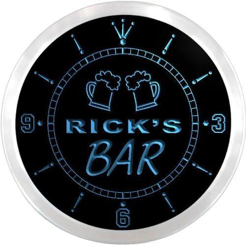 ADVPRO ncpv0194-b Rick's Home Bar Beer Mugs Pub LED Neon Sign Wall Clock