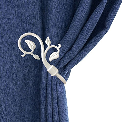 - Chictie European Leaves Curtain Holdbacks Decorative Wall Hooks Hanger for Drapes Linen Holder Window Treatment Hardware,Set of 2 (White)