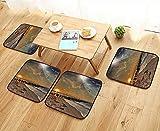 Printsonne Anti-Skid Chair Cushions Solar Eclipse ACH Ocean with Horiz Sun Mo Glo Gulls Flying Health is Convenient W19.5 x L19.5/4PCS Set