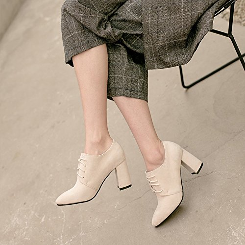 Black Shoes Early Wild Jqdyl With High Female High Pointed Thick Women'S Beige Shoes heels Single Deep Spring Heels FvOwfqxvp