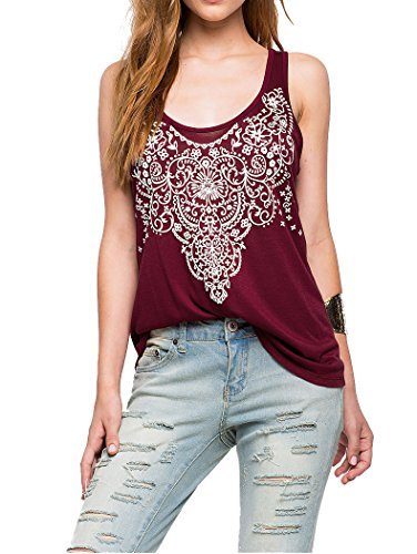 MoVee Sale ! ! ! Women's Girls Summer Low Round Neck Printing Tank Top Hollow Back Camisole On Sale