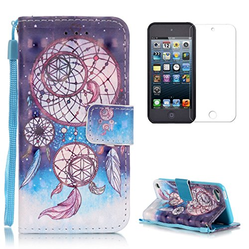 Apple iPod Touch 5/6 Wallet Case [with Free Screen Protector],CasesHome Stylish 3D Pattern Magnetic Wrist Strap Built-in Soft Rubber Bumper Flip Leather Holster - Dreamcatcher