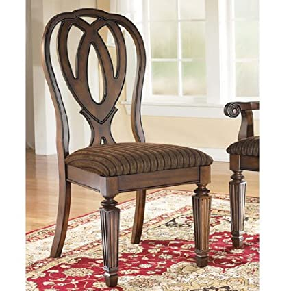 Ashley Furniture Signature Design Hamlyn Dining UPH Side Chair, Medium  Brown Finish, Set Of