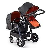 Twin Stroller, Single Row high Landscape Travel System Modular Folding Stroller Black