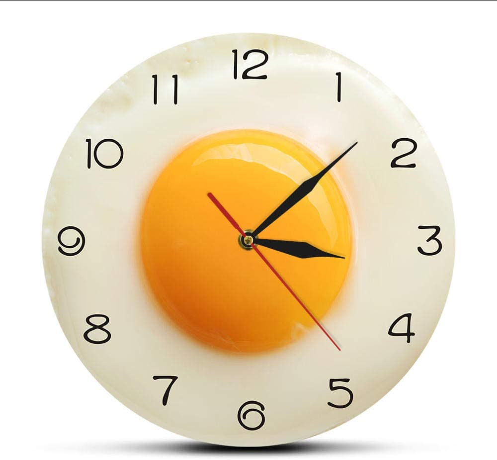 Huanxidp Sunny Side Up Fried Egg Kitchen Wall Clock 3D Flat Design Breakfast Food Wall Art Dining Room Interior Decor Silent Wall Watch 12 inches