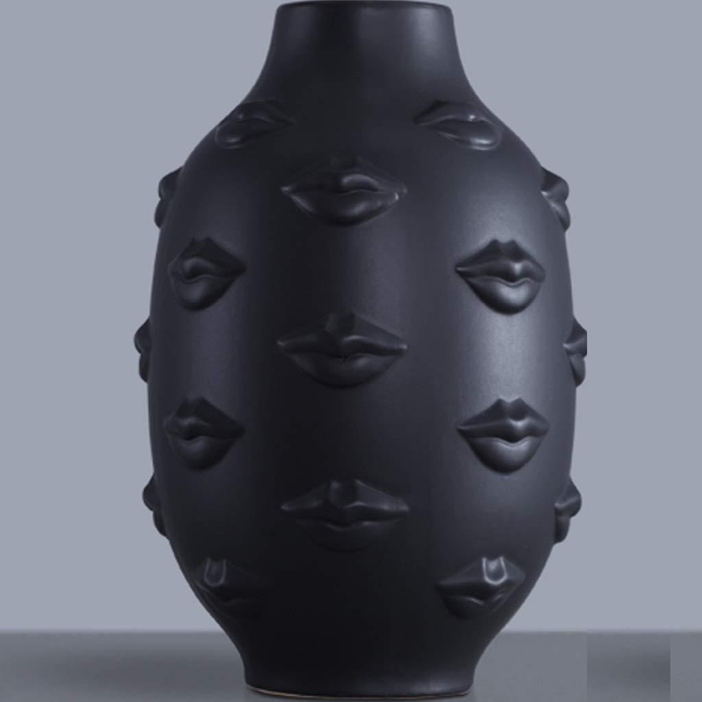 黒と白のセラミック小さな新鮮な唇の花瓶創造的なドライフラワーフラワーアレンジメントの家の装飾 SHWSM (色 : ブラック) B07S2DGWK3 ブラック