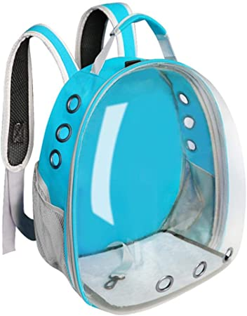 Linwei Cat Carrier Bag Breathable Transparent Puppy Cat Backpack Cats Box Cage Small Dog Pet Travel Carrier Handbag,Blue,M: Amazon.es: Hogar