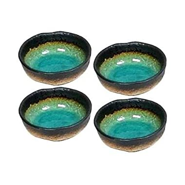 1 X Set of Four Turquoise Green Kosui Japanese 5 Inch Rice Bowls