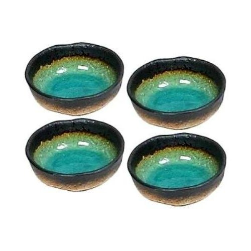 (Set of Four Green Kosui Soy Sauce Dipping Bowls 3 1/4 Inch)
