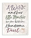 kitchen witch hanging - The Stupell Home Décor Collection a Witch, Little Monsters, and a Handsome Devil Wall Plaque Art, 10 x 15