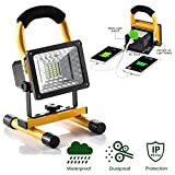 JIN CAN [15W 24LED] Spotlights Work Lights Outdoor Camping Lights, Built-in Rechargeable Lithium Batteries (with USB Ports to Charge Mobile Devices and Special SOS Modes)