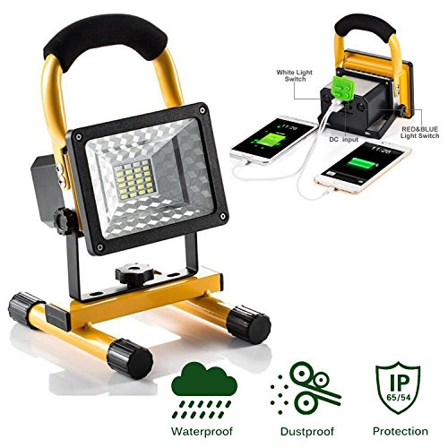 JIN CAN [15W 24LED] Spotlights Work Lights Outdoor Camping Lights, Built-in Rechargeable Lithium Batteries (with USB Ports to Charge Mobile Devices and Special SOS Modes) by JIN CAN (Image #9)