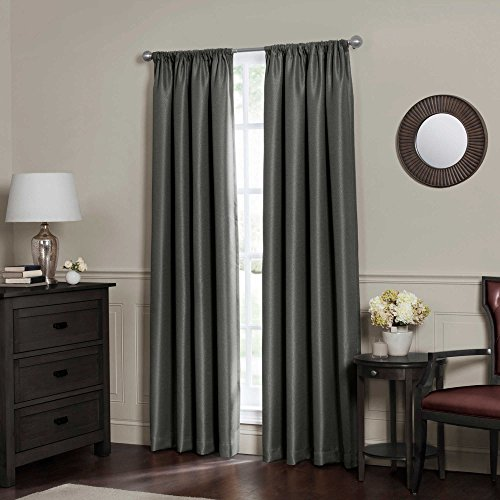 Cheap Elegant 95-Inch Rod Pocket Insulated 100% Total Light Blackout Lining Window Curtain Panel in Charcoal