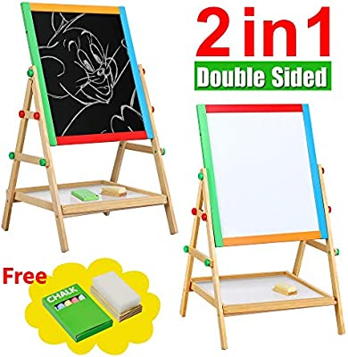 Adjustable Double Sided Kids Easel Black//White Board for Art Painting /& Drawing