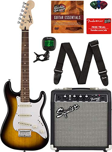 Squier by Fender Short Scale Stratocaster - Brown Sunburst Bundle with Frontman 10G Amp, Cable, Tuner, Strap, Picks, Fender Play Online Lessons, and Austin Bazaar Instructional DVD