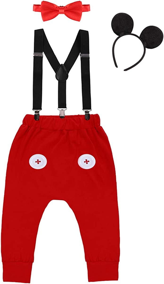 Boys Baby Birthday Mickey Ear Costume Pants Suspenders Bow Tie 4pcs Photo Outfit