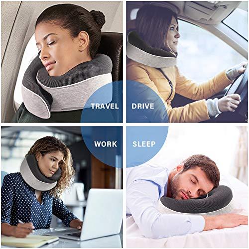 hogar y Oficina Gris para Viajes Vemingo Almohada de Cuello de Espuma de Memoria 100/% Pura Lavable Transpirable coj/ín de Transporte a/éreo contra el Polvo Almohada de Viaje