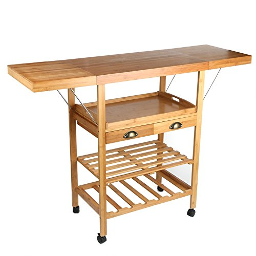 JA Marketing 28 Bamboo Expandable Wood Kitchen Cart, Bamboo Wood