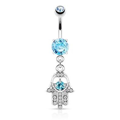 or Aqua 316L Surgical Steel 14g Dangle Navel Ring Pink Hamsa Hand with Cz Accebts Dangle Belly Button Ring Choose Clear